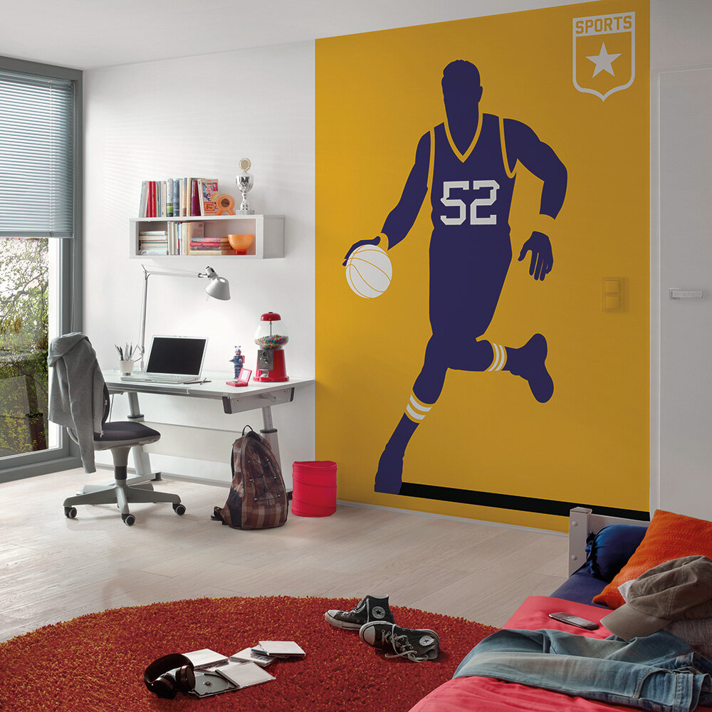 Basketball Mural - Purple/Yellow - by ARTist