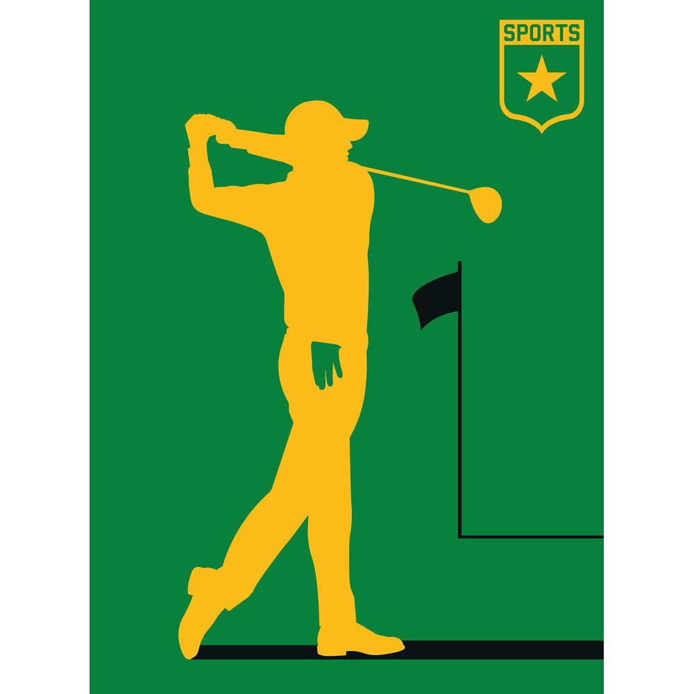 Golf Player Mural - Green/Yellow - by ARTist
