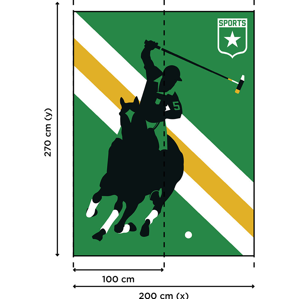 Horse Polo Mural - Green/Yellow - by ARTist