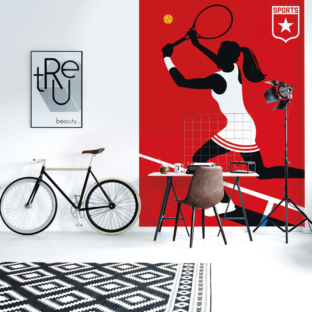 Tennis Player Mural - Red - by ARTist
