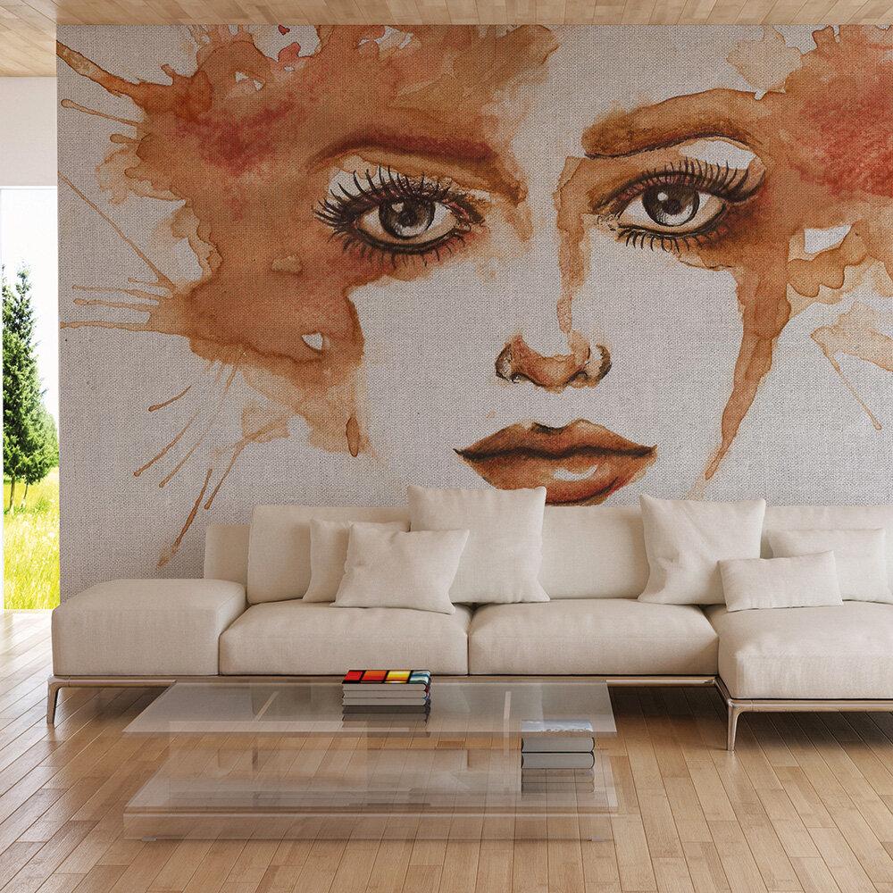 Watercolour Face Mural - Burnt Orange - by ARTist