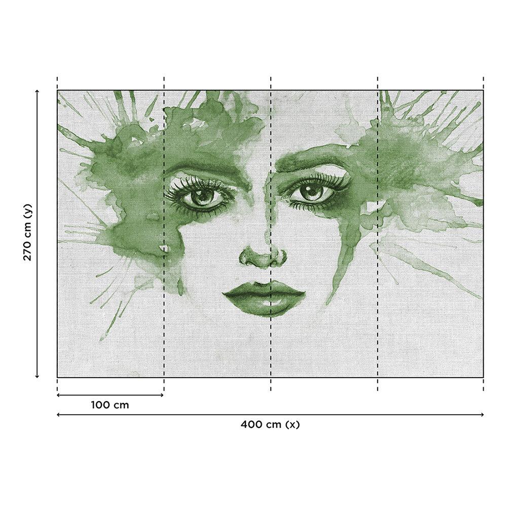 Watercolour Face Mural - Green - by ARTist