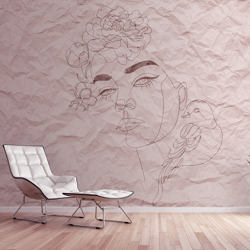 Paper Face Mural - Pink - by ARTist