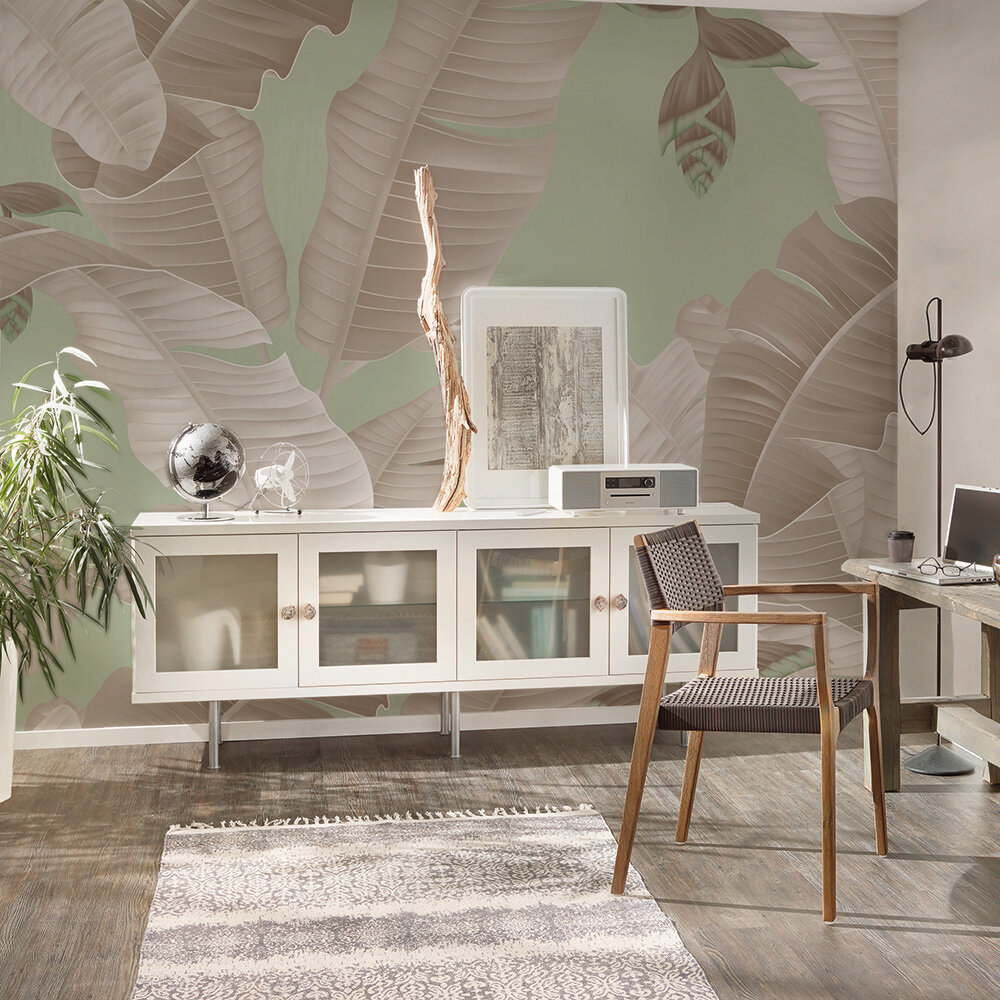 Heliconia Mural - Grey/Green - by ARTist