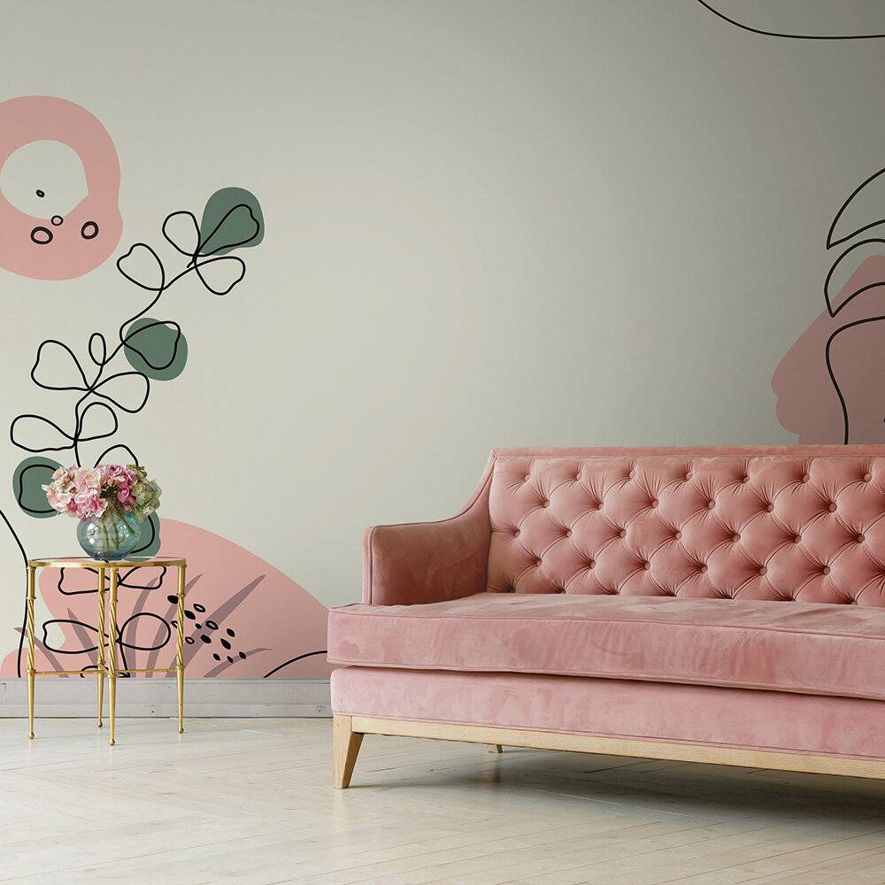 Drawn Leaves Mural - Pink - by ARTist