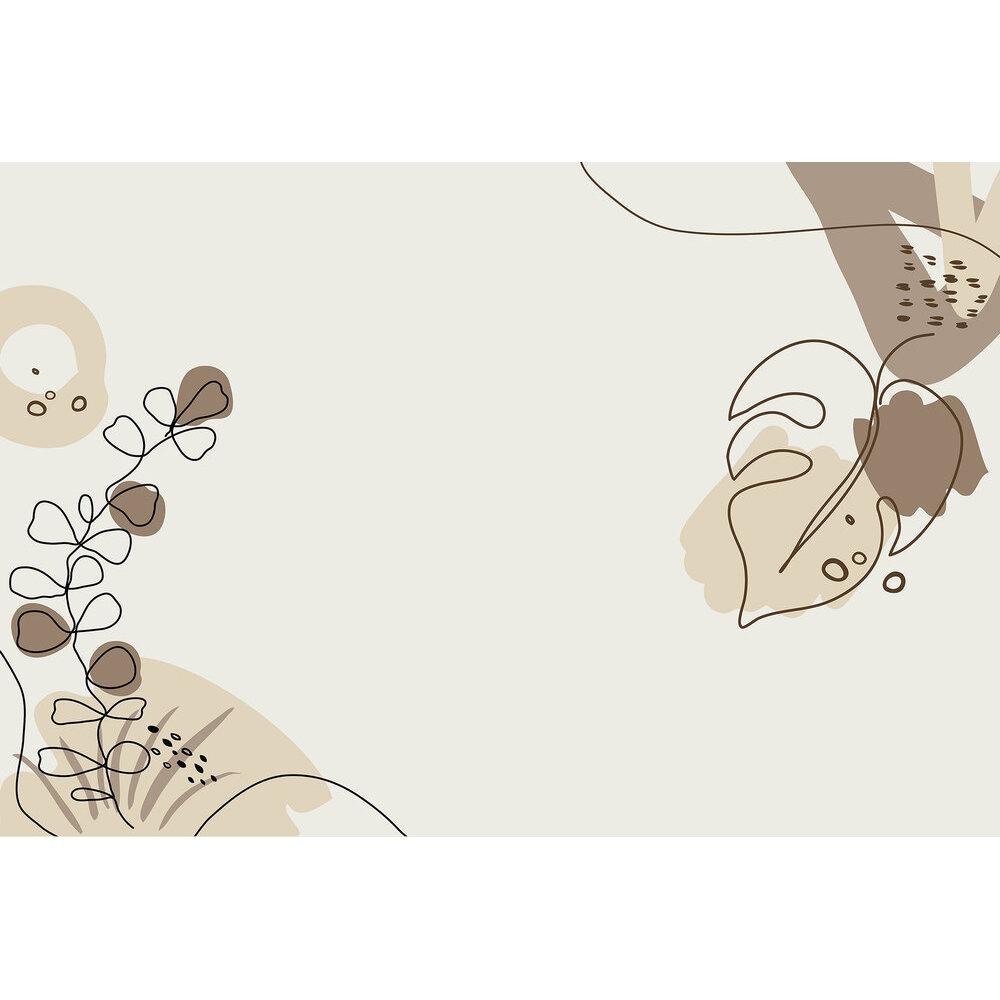 Drawn Leaves Mural - Brown - by ARTist
