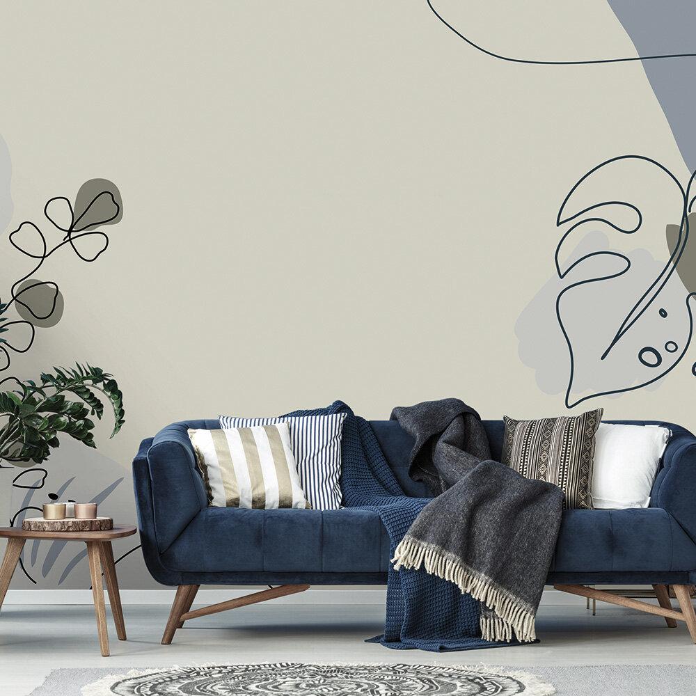 Drawn Leaves Mural - Blue - by ARTist
