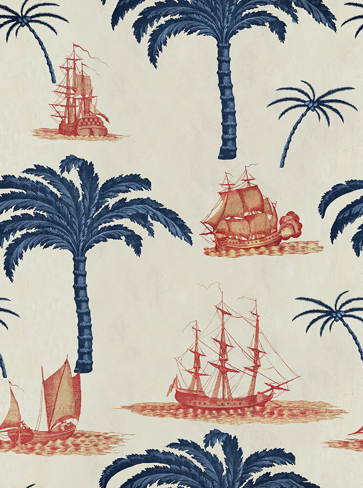 Aegean Fabric - Taupe/ Indigo/ Red - by Mind the Gap