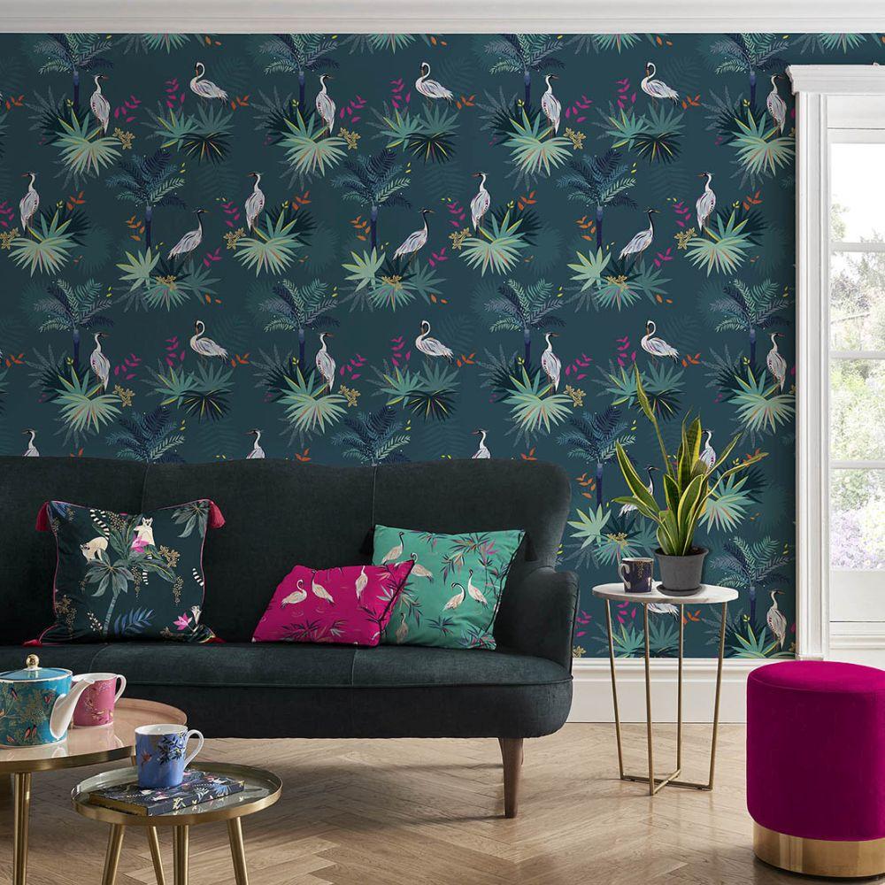 Heron Wallpaper - Teal - by Sara Miller