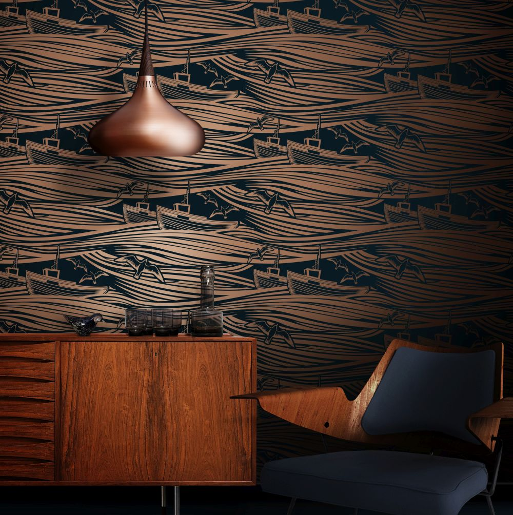 Whitby Wallpaper - Midnight & Copper - by Mini Moderns