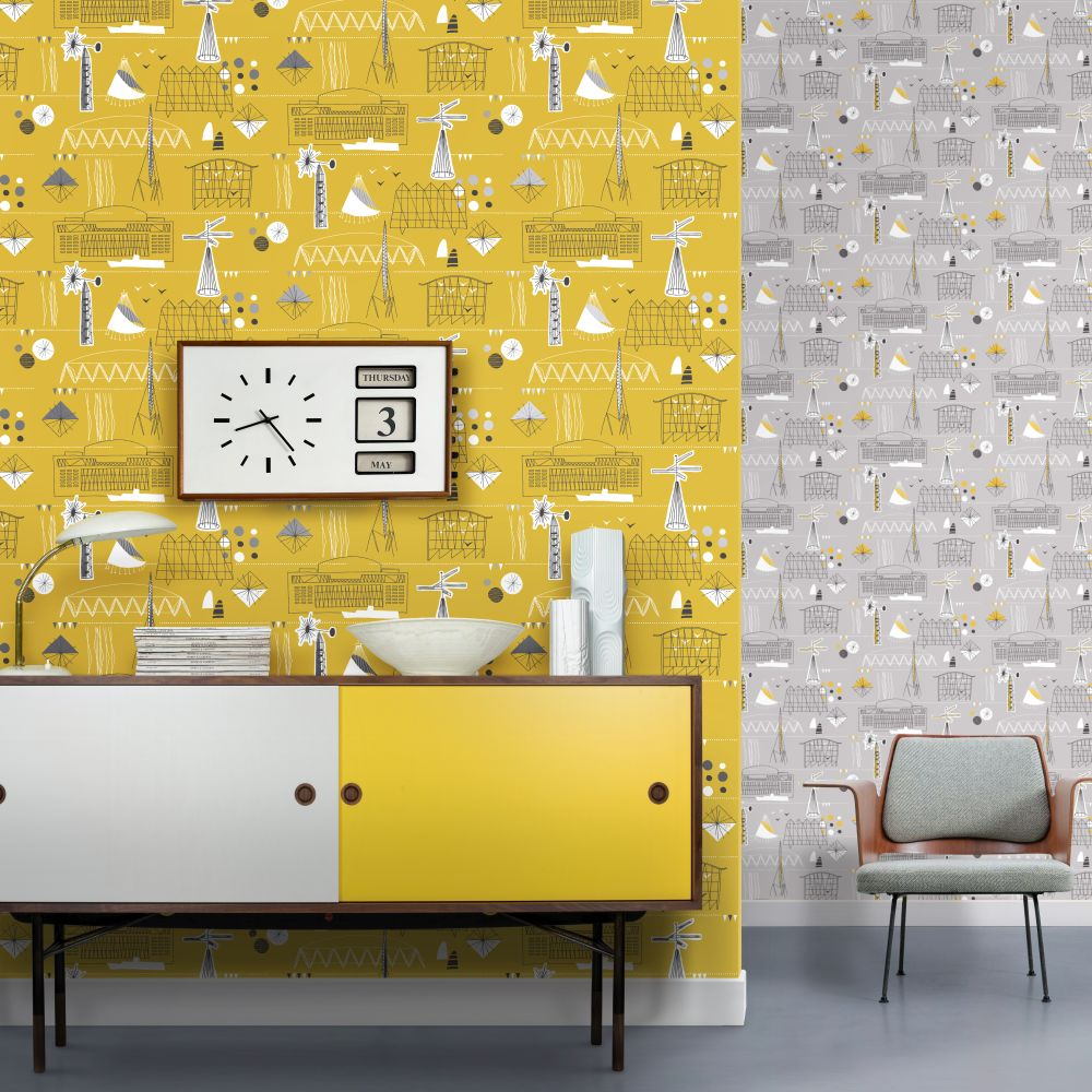 Festival Wallpaper - Mustard & Platinum - by Mini Moderns