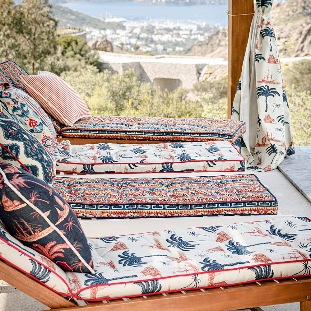 Aegean Outdoor Fabric - Indigo/ Red/ Taupe - by Mind the Gap