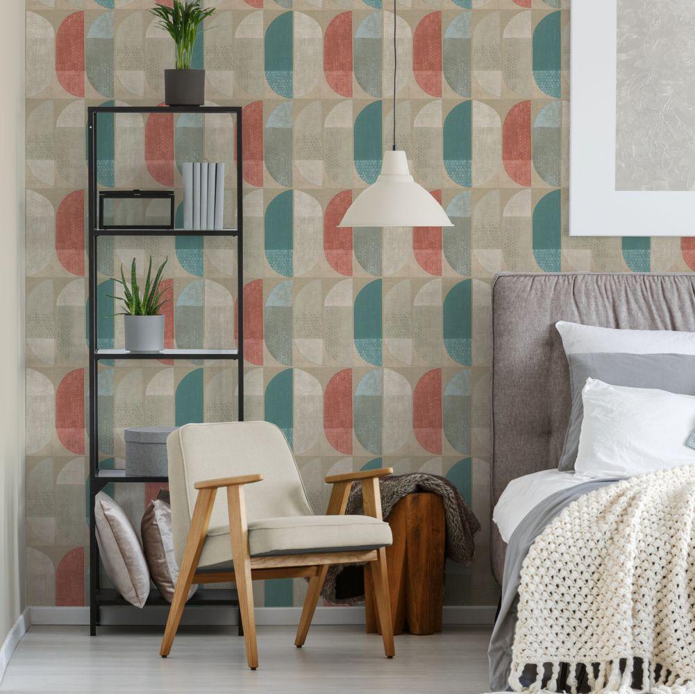 Geometric Motif Wallpaper - Orange - by Albany