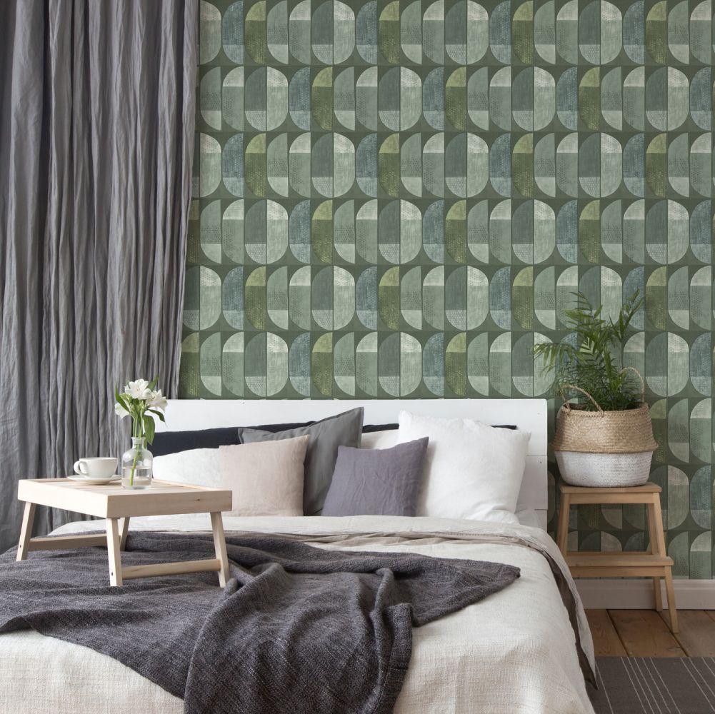 Geometric Motif Wallpaper - Green - by Albany