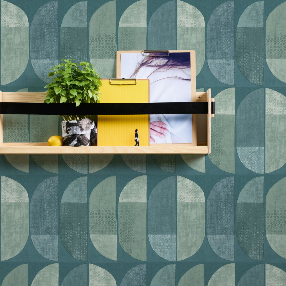 Geometric Motif Wallpaper - Blue / Green - by Albany