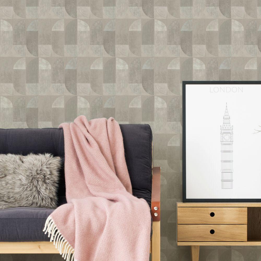 Geometric Motif Wallpaper - Beige - by Albany