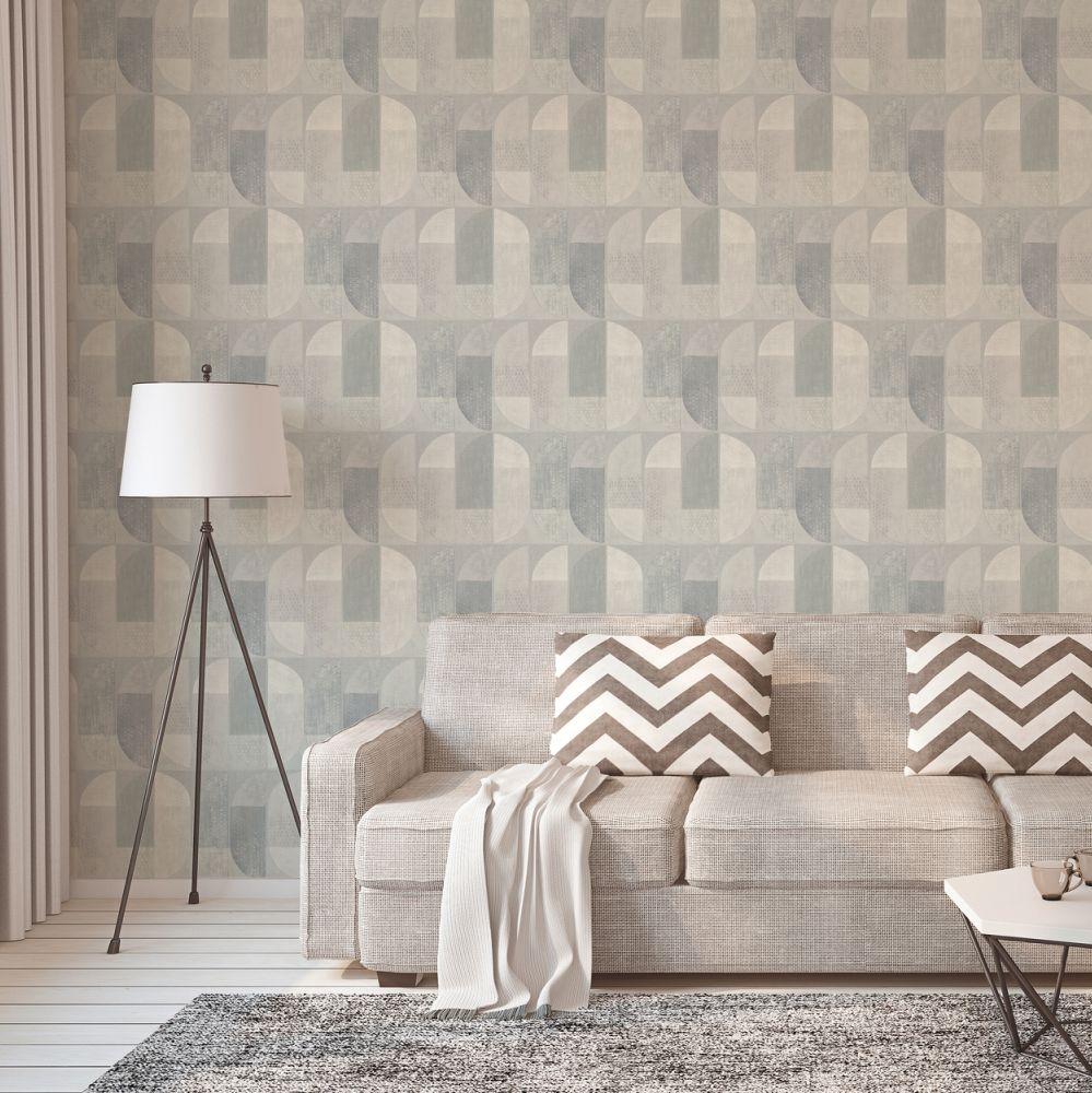 Geometric Motif Wallpaper - Grey - by Albany