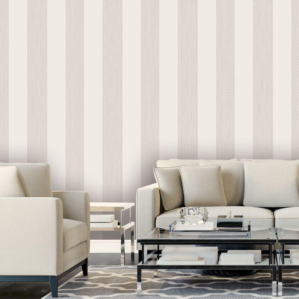 Amelie Stripe Wallpaper - Beige - by Albany