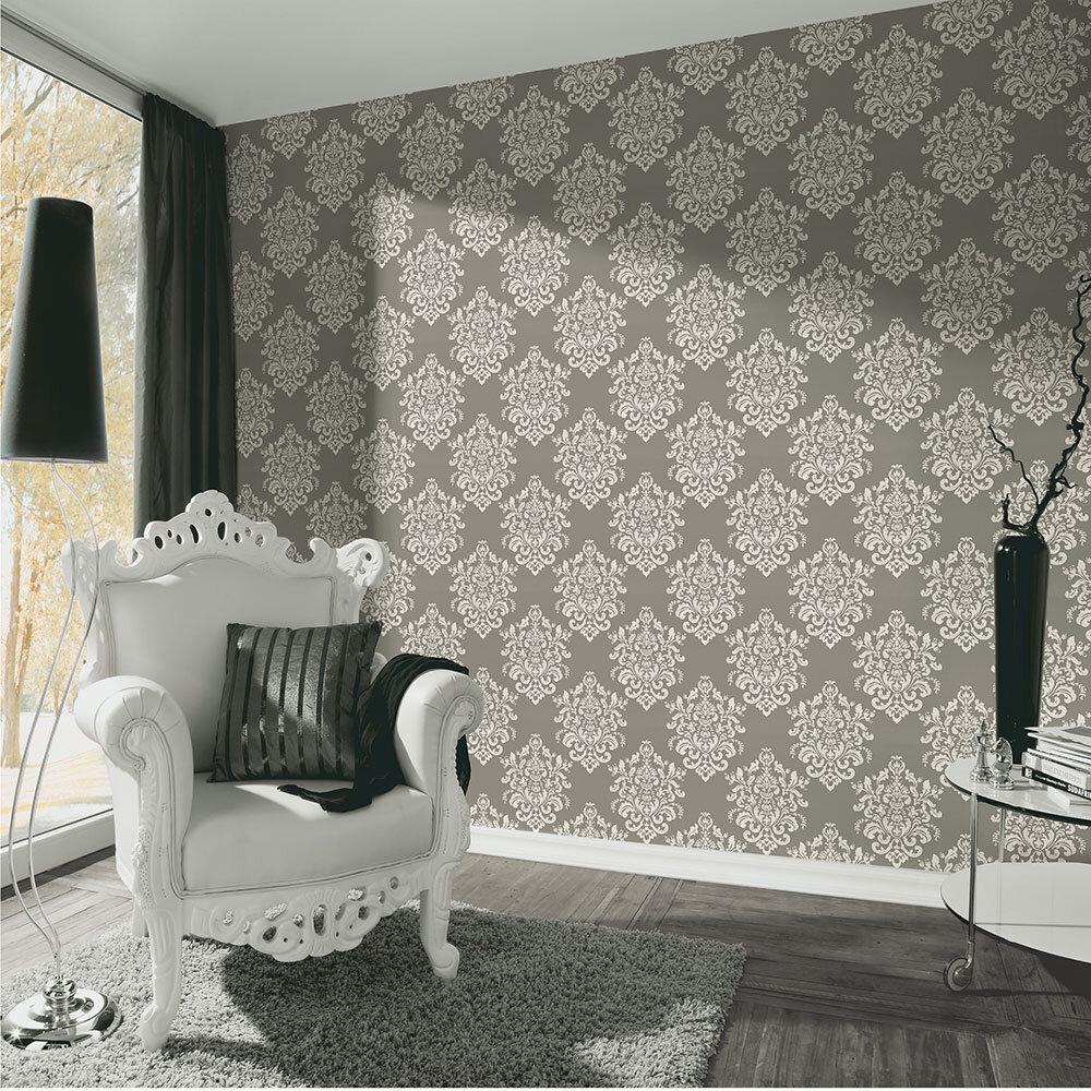 Bold Damask Wallpaper - Grey - by Albany