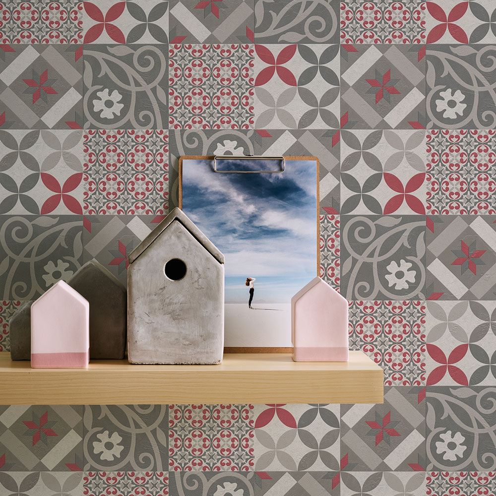 Patchwork tiles Wallpaper - Pink/grey - by Albany