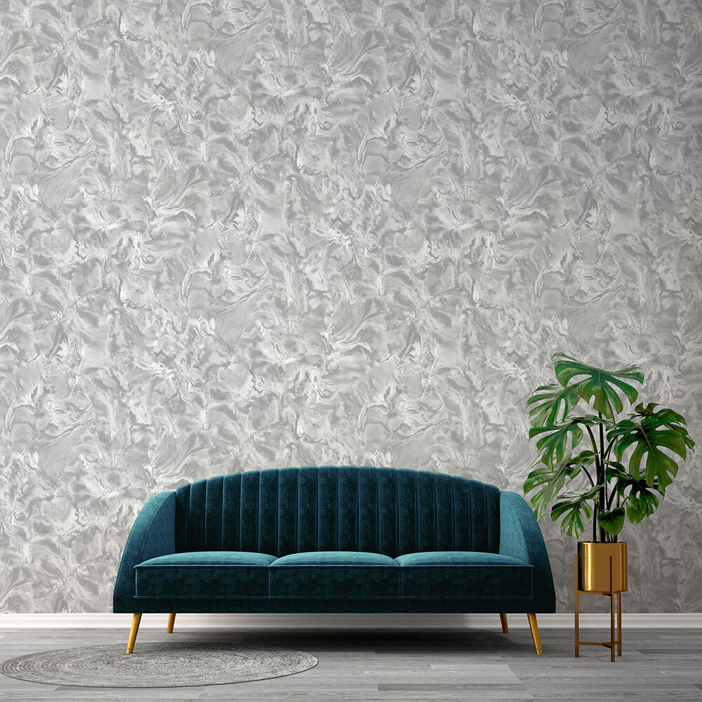 Lusso Wallpaper - Silver - by Albany