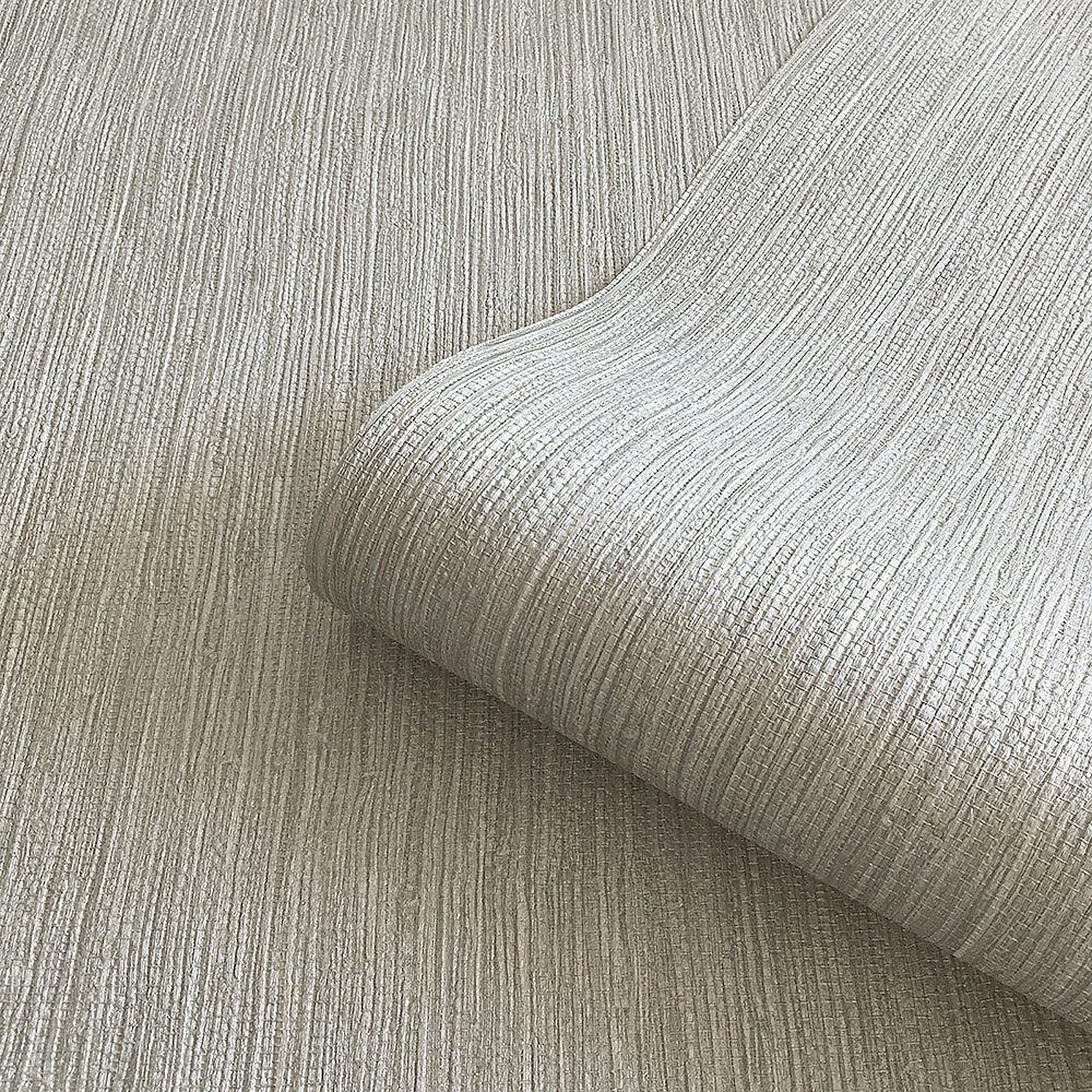 Grasscloth Texture Wallpaper - Silver - by Albany