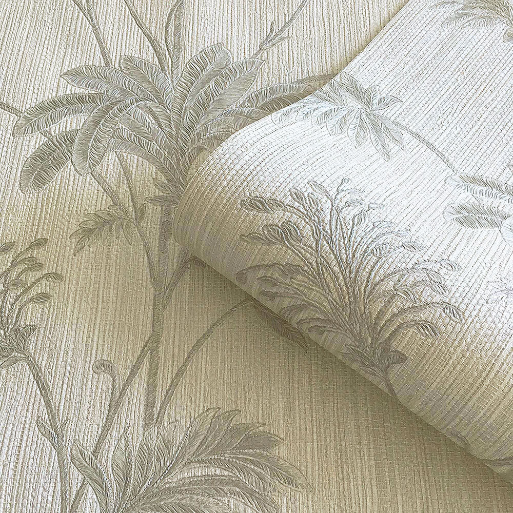 Grasscloth Wallpaper - Cream/Silver leaf - by Albany