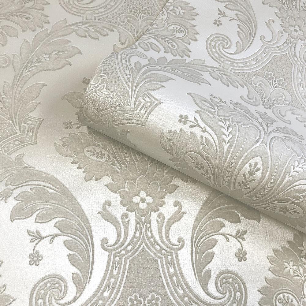 Amara Damask Wallpaper - Cream - by Albany