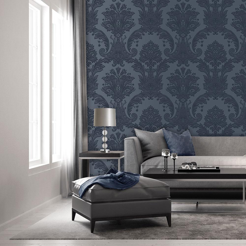 Amara Damask Wallpaper - Dark Blue - by Albany