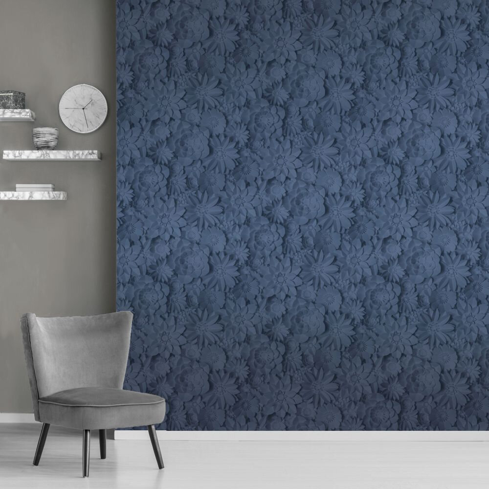 Dimensions Floral Wallpaper - Navy - by Albany