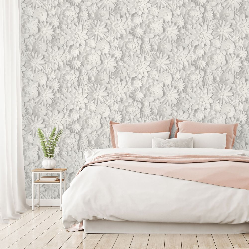 Dimensions Floral Wallpaper - White - by Albany