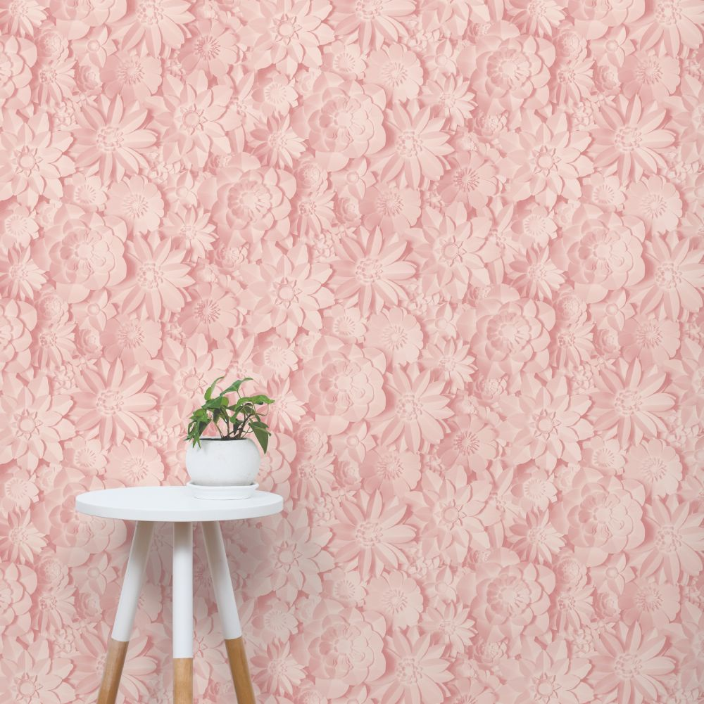 Dimensions Floral Wallpaper - Pink - by Albany