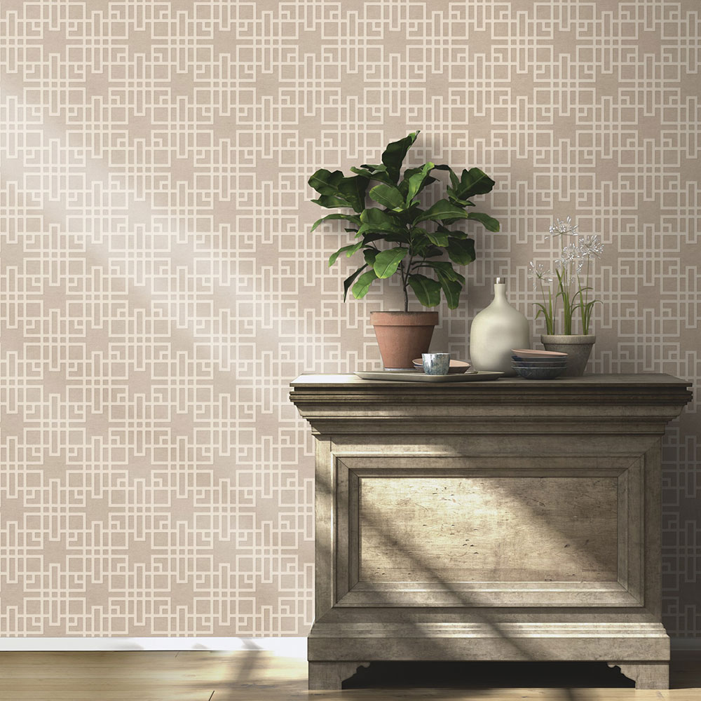 Japanese Trellis Wallpaper - Beige - by Albany