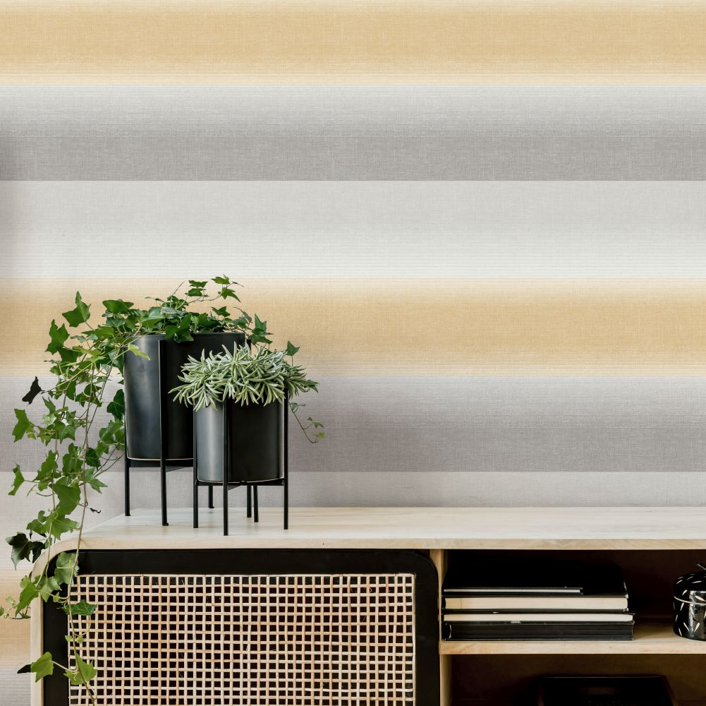 Kirby Stripe Wallpaper - Yellow - by Albany