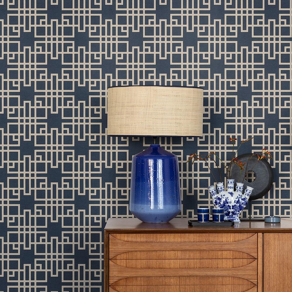 Japanese Trellis Wallpaper - Indigo - by Albany