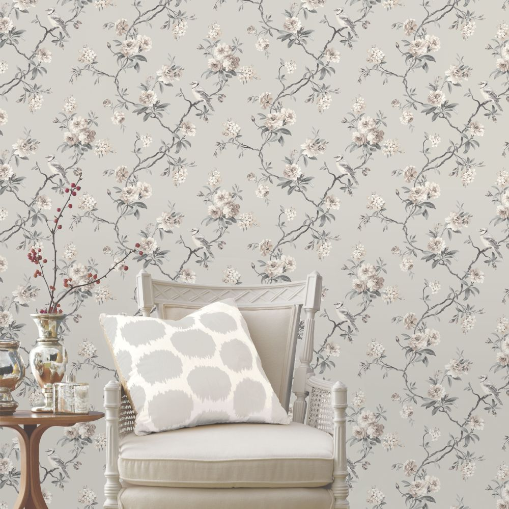 Chinoserie Wallpaper - Grey - by Albany