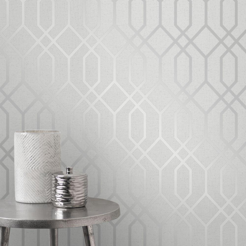 Quartz Trellis Wallpaper - Silver - by Albany