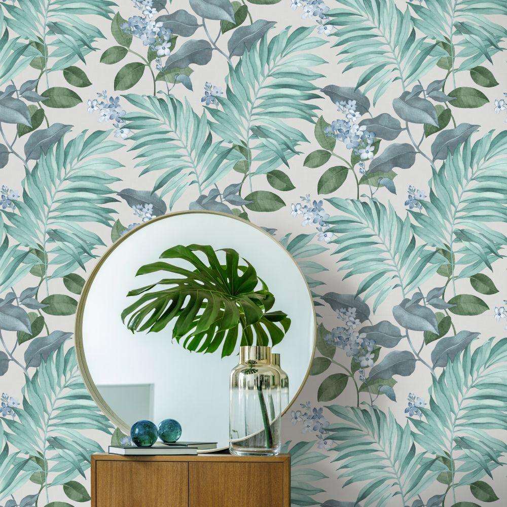 Eden Tropical Wallpaper - Aqua - by Albany