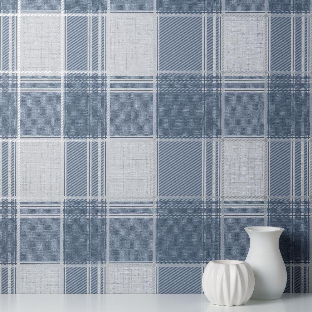 Larson Check Wallpaper - Navy - by Albany