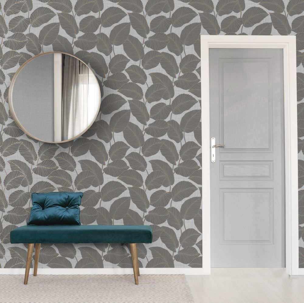 Larson Leaf Wallpaper - Slate - by Albany
