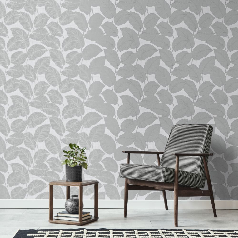 Larson Leaf Wallpaper - Light Grey - by Albany