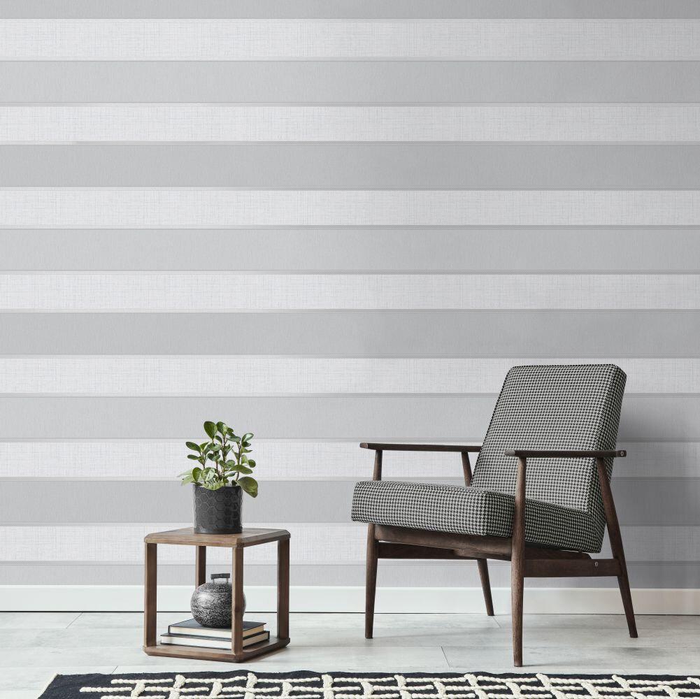 Larson Stripe Wallpaper - Light Grey - by Albany