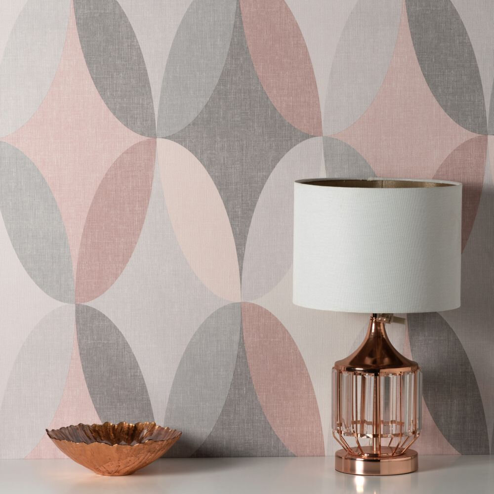 Kirby Geo Wallpaper - Pink - by Albany