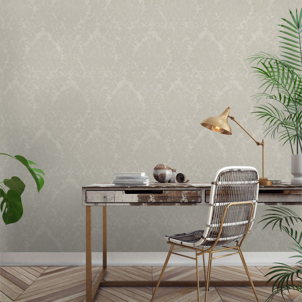 Chenille Damask Wallpaper - Cream - by Albany