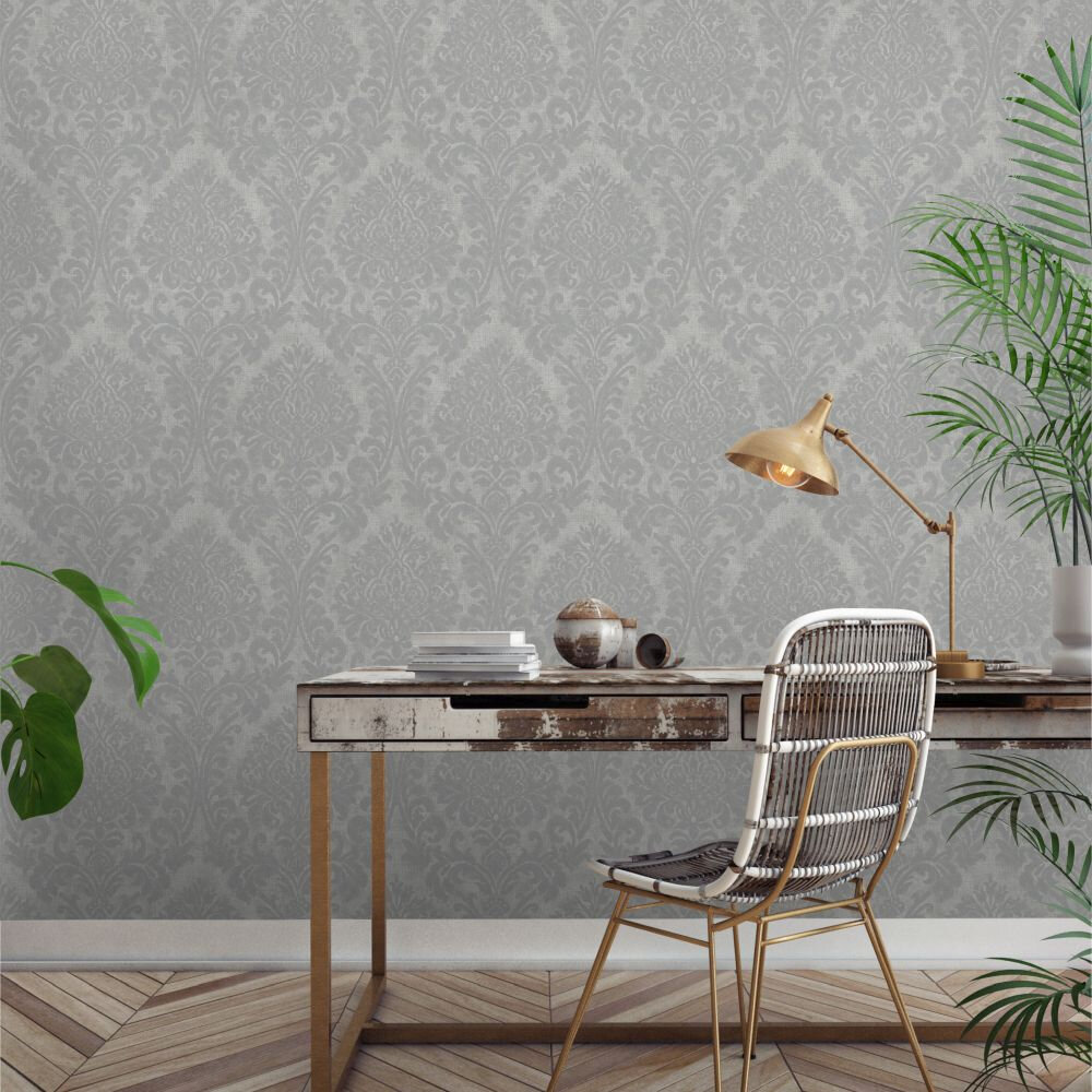Chenille Damask Wallpaper - Silver - by Albany