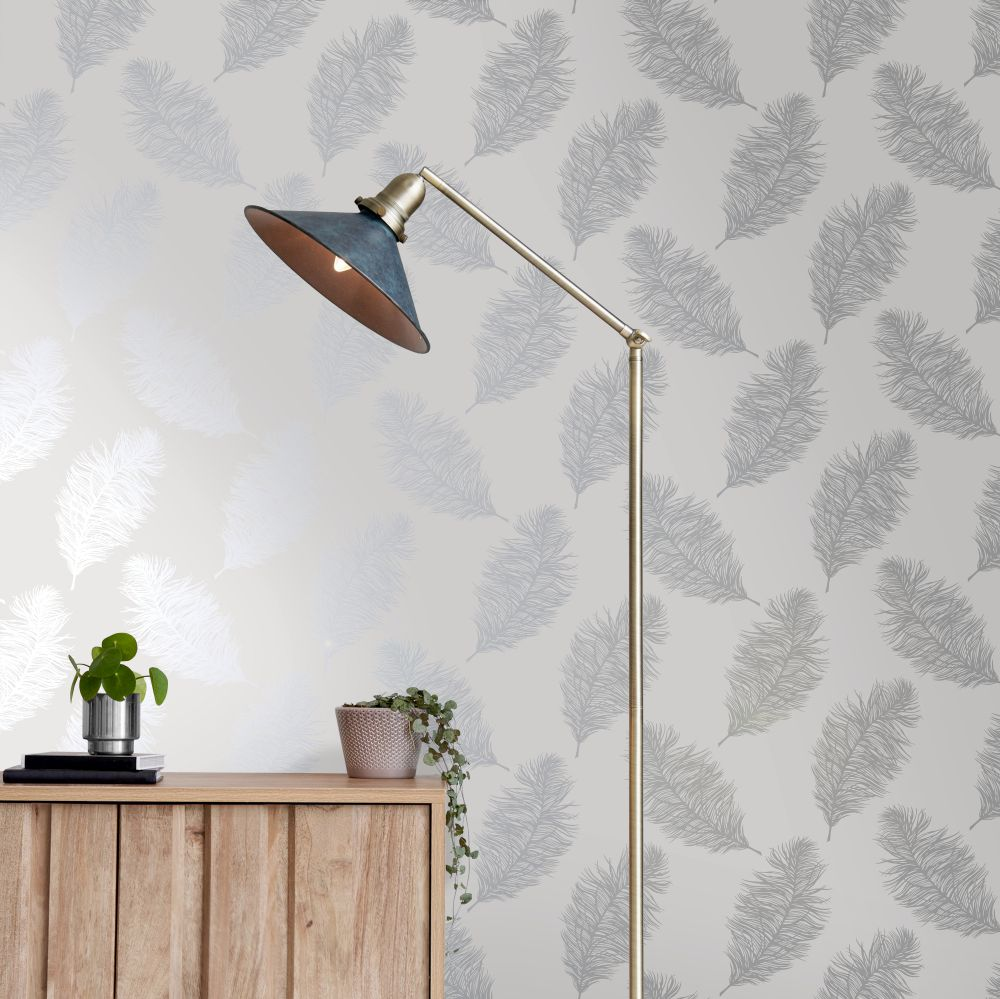 Fawning Feather Wallpaper - Grey / Silver - by Albany