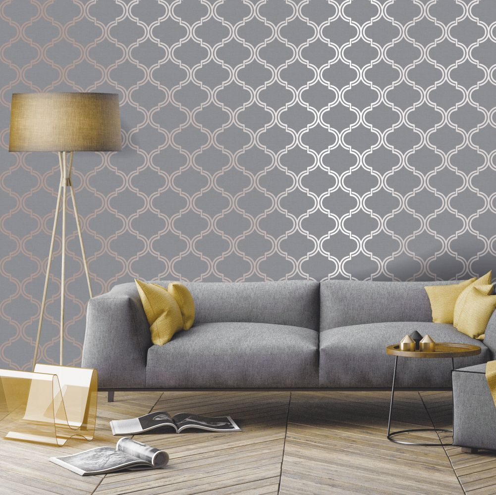 Glistening Geo Wallpaper - Grey / Rose Gold - by Albany