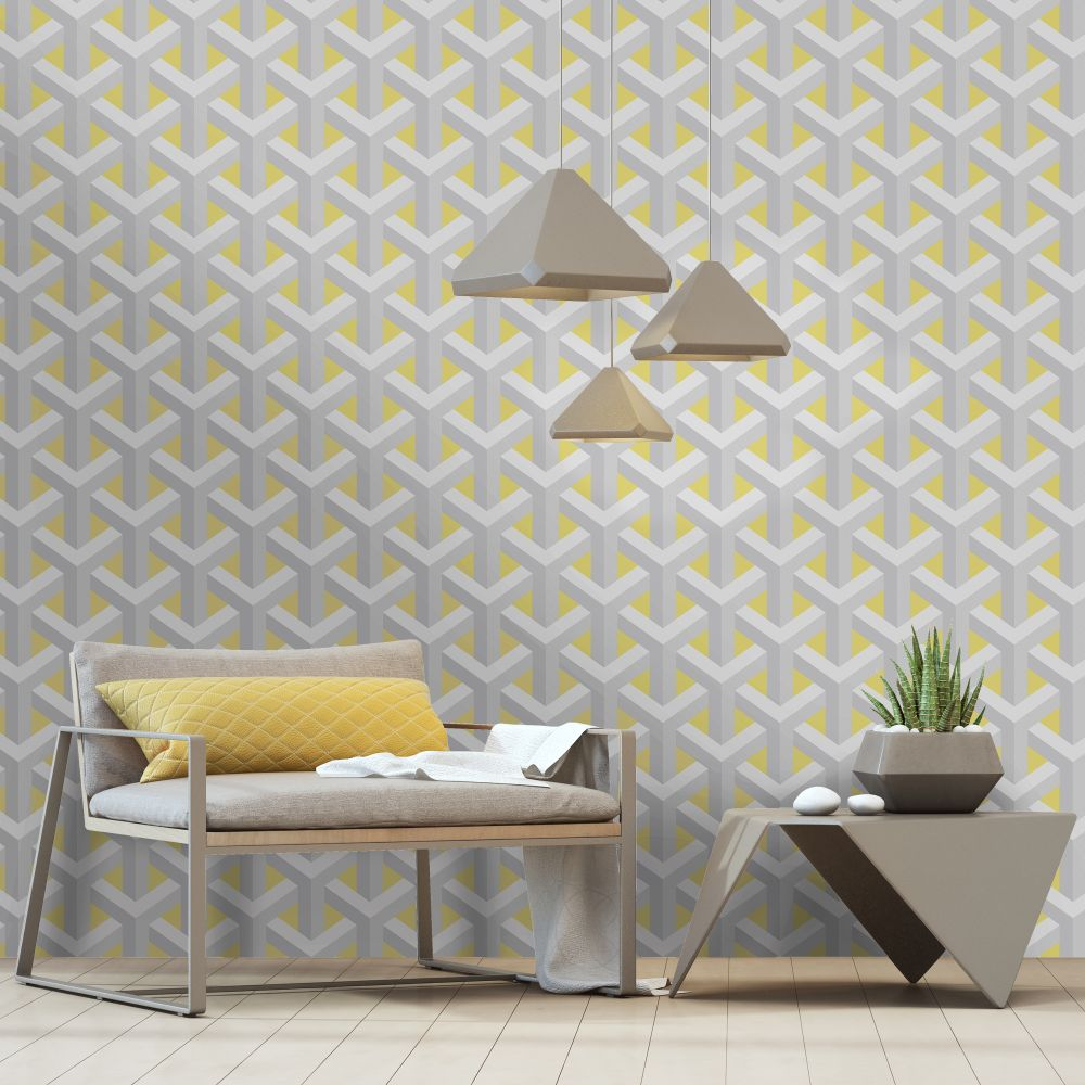 Glistening Trident Wallpaper - Yellow - by Albany