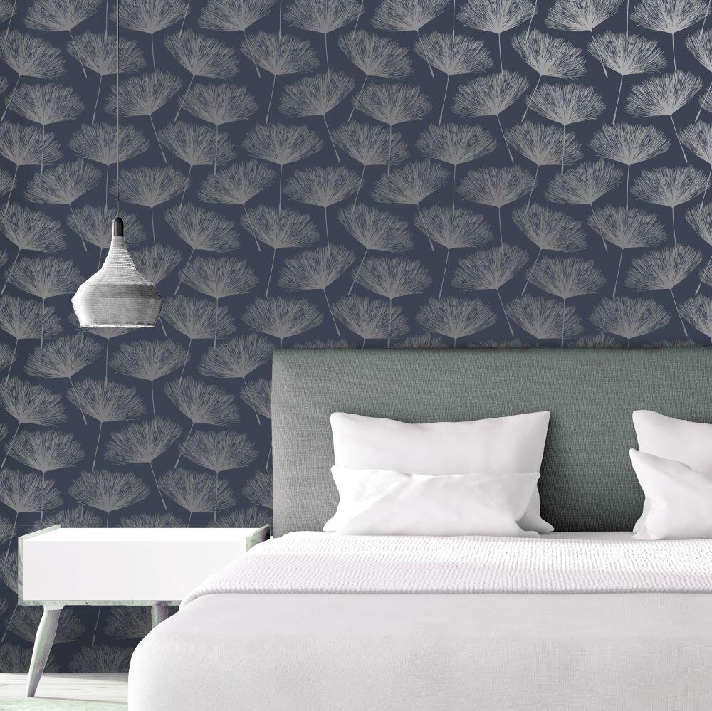 Glistening Fleur Wallpaper - Navy - by Albany