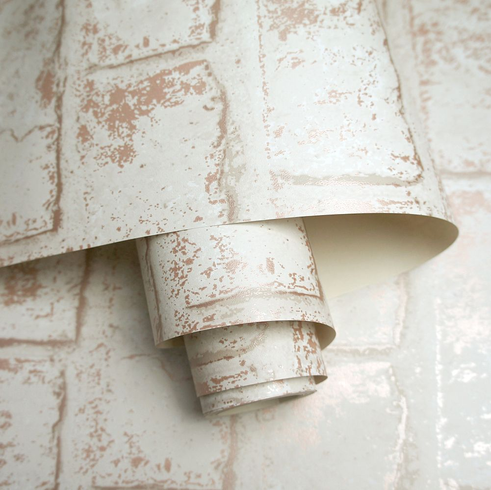Glistening Brick Wallpaper - Cream - by Albany